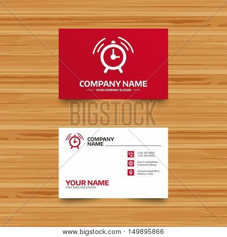 Business card template. Alarm clock sign icon. Wake up alarm symbol. Phone, globe and pointer icons. Visiting card design. Vector