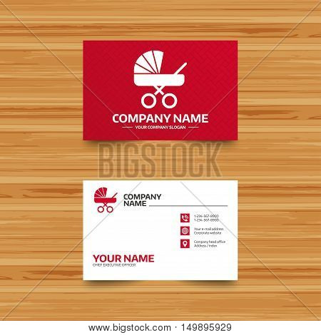 Business card template. Baby pram stroller sign icon. Baby buggy. Baby carriage symbol. Phone, globe and pointer icons. Visiting card design. Vector