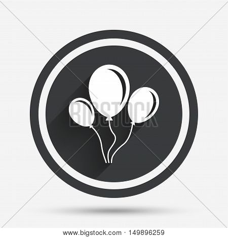 Balloon sign icon. Birthday air balloon with rope or ribbon symbol. Circle flat button with shadow and border. Vector