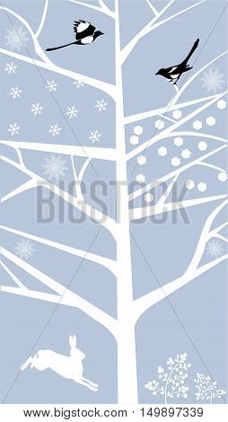 Stylized tree in a winter season with the two magpie birds and a hare