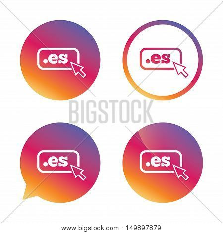 Domain ES sign icon. Top-level internet domain symbol with cursor pointer. Gradient buttons with flat icon. Speech bubble sign. Vector