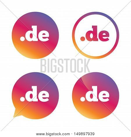 Domain DE sign icon. Top-level internet domain symbol. Gradient buttons with flat icon. Speech bubble sign. Vector