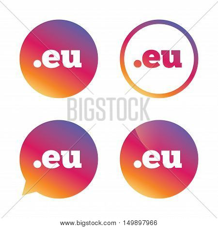 Domain EU sign icon. Top-level internet domain symbol. Gradient buttons with flat icon. Speech bubble sign. Vector
