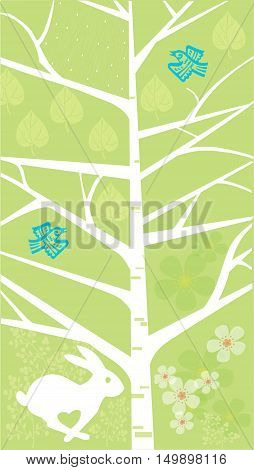 Stylized tree on a green background, spring season