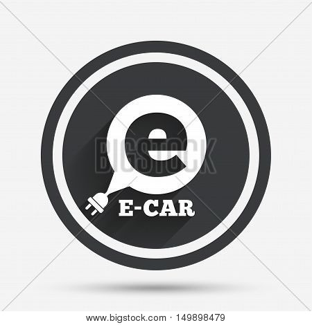 Electric car sign icon. Electric vehicle transport symbol. Speech bubble. Circle flat button with shadow and border. Vector