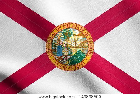 Floridian official flag symbol. American patriotic element. USA banner. United States of America background. Flag of the US state of Florida waving in the wind with detailed fabric texture, illustration