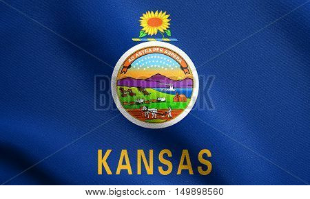 Kansan official flag symbol. American patriotic element. USA banner. United States of America background. Flag of the US state of Kansas waving in the wind with detailed fabric texture, illustration