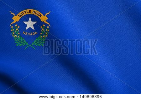 Nevadan official flag symbol. American patriotic element. USA banner. United States of America background. Flag of the US state of Nevada waving in the wind with detailed fabric texture, illustration