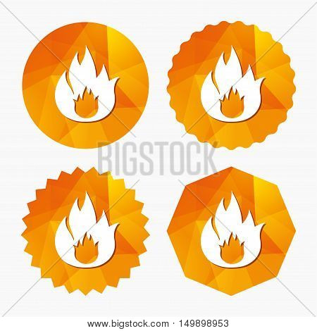 Fire flame sign icon. Fire symbol. Stop fire. Escape from fire. Triangular low poly buttons with flat icon. Vector
