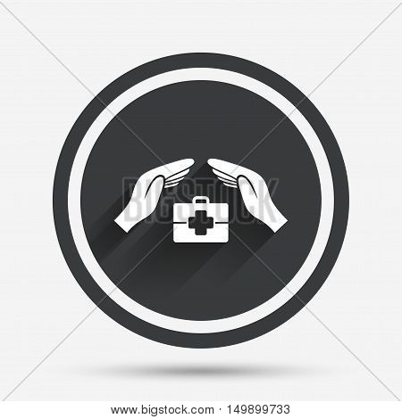 Medical insurance sign icon. Health insurance symbol. Doctor case. Circle flat button with shadow and border. Vector