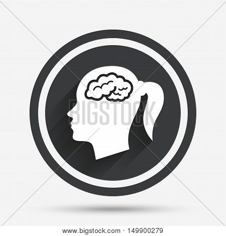 Head with brain sign icon. Female woman human head think symbol. Circle flat button with shadow and border. Vector