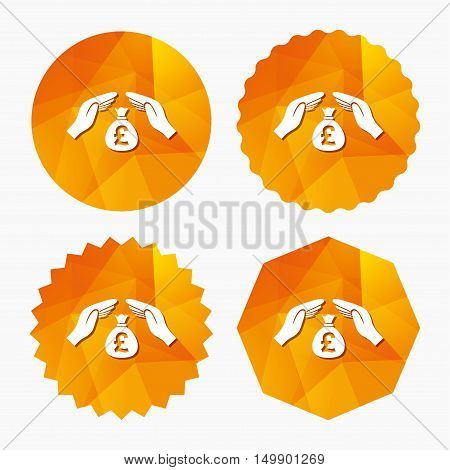 Protection money bag sign icon. Hands protect cash in Pounds symbol. Money or savings insurance. Triangular low poly buttons with flat icon. Vector