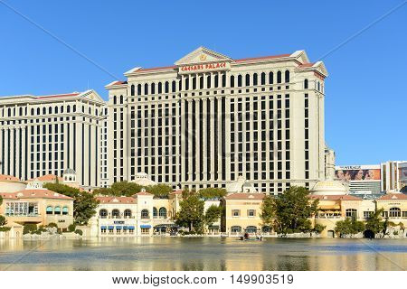 LAS VEGAS - DEC 26: Caesars Palace is a luxury resort and casino on Las Vegas Strip on Dec. 26, 2016 in Las Vegas, Nevada, USA. The hotel is one of the largest landmarks with Roman Empire style.