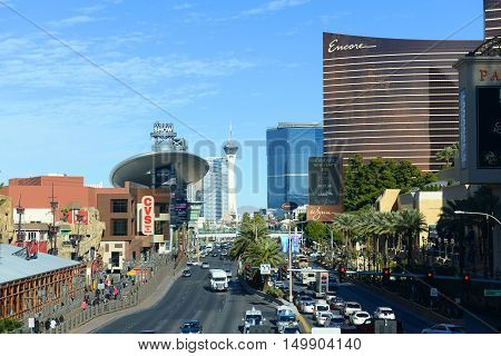 LAS VEGAS - DEC 26: Las Vegas Strip facing north, photo includes the Fashion Show Mall, Stratosphere and Wynn Encore from the left to the right on Dec. 26, 2015 in Las Vegas, Nevada, USA.