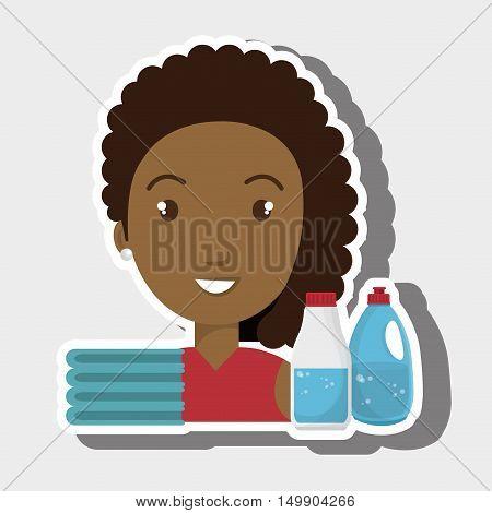 woman cartoon clothes detergent vector illustration eps 10