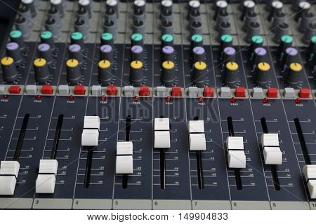 Sound mixer board close up