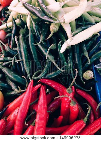 Closeup view of fresh chili, view group of many chili, a lot of chili, chili background