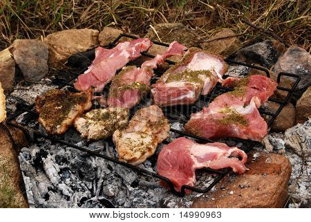 Pork chops roasting on wood coal fireplace