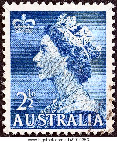 AUSTRALIA - CIRCA 1953: A stamp printed in Australia shows Queen Elizabeth II, circa 1953.