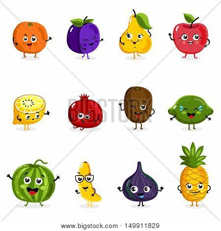Cartoon fruit cute characters face isolated on white background vector illustration. Funny fruit face icon vector collection. Cartoon face food emoji. Fruit emoticon. Funny food concept. Vector fruit. Smiling cute funny food. Cartoon food.