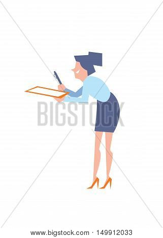 Smiling secretary giving pen and clipboard for signature, isolated vector illustration on white background. Office life. Modern business people. Human resource.