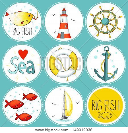 Vector sea set of 9 nautical elements. Each one in a circle shape on a dark background. There are lighthouse, seagulls, sail boat, life buoy, fish, wheel and anchor. Imitation of watercolor.