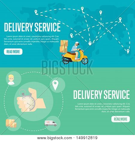 Delivery boy riding scooter with cardboard boxes on blue background of world map. Human hand points at stopwatch timer on green background. Delivery service website templates, vector illustration.