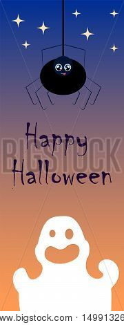 Halloween vector illustration with ghost and spider. Creepy and lovely cartoon characters image. Halloween vertical greeting card. Halloween bookmark. Spooky paper decor. Hand-drawn characters