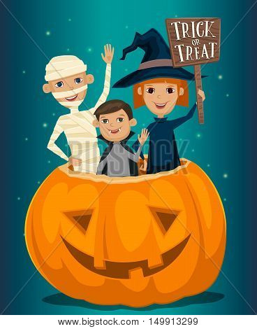 Halloween kids costumes mummies, vampire and witches are sitting in a pumpkin with sign Trick or Treat. Halloween pumpkin. Kids in Halloween festive design concept. Halloween concept. Beggars Night october holiday. All Hallows Evening. Halloween costume.