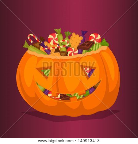 Halloween pumpkin full of candy treats. Cartoon pumpkin. Symbol of halloween design concept. Halloween vector elements. Beggars Night october holiday. All Hallows Evening. Halloween concept. Funny scary halloween pumpkin.