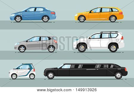 Different passenger cars. Sedan, universal, hatchback, off-road, SUV, mini, limousine car body types vector illustrations set. Different type of cars. For auto shops, salon ad, transport concepts. Rent a car concept. Detailed cars. Isolated cars.