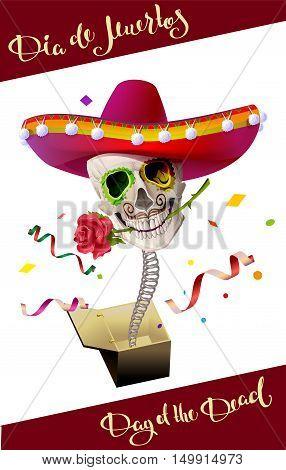 Day of the Dead. Skull in Mexican Hat. Dia de Muertos. Illustration in vector format
