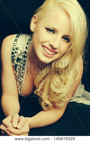 Beautiful smiling happy blond woman