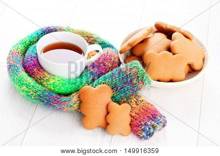gingerbread cookies with cup of tea - sweet food