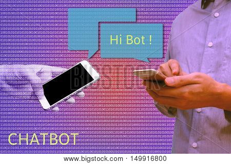 Chat bot and future marketing concept Man holding smart phone chatting with robot hands communicate with automatic message and binary coded abstract background