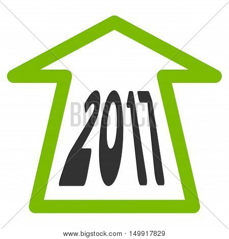 2017 Ahead Arrow vector pictograph. Style is flat graphic symbol, eco green and gray colors, white background.