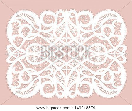 White lace doily with flowery pattern on a pink background