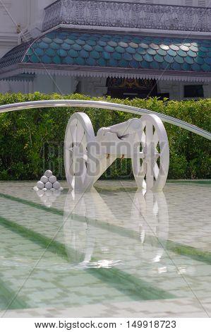 Georgtown Penang Malaysia - APRIL 18 2016 symbolic white cannon