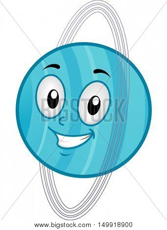 Illustration of a Uranus Mascot Featuring a Smiling Blue Planet Surrounded by Giant Rings
