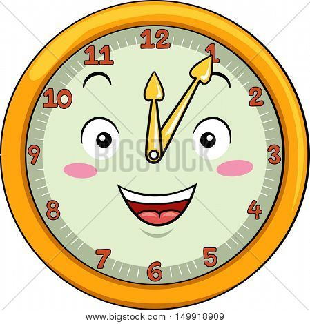 Mascot Illustration of a Smiling Clock with its Hands Pointing to the Numbers Twelve and One