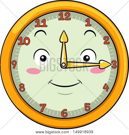 Mascot Illustration of a Smiling Clock with its Hands Pointing to the Numbers Twelve and Three