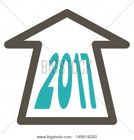 2017 Ahead Arrow vector pictograph. Style is flat graphic symbol, grey and cyan colors, white background.