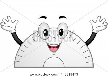 Mascot Illustration of a Happy and Enthusiastic Protractor Waving Its Hands