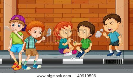 Children smoking and doing drugs on the street illustration