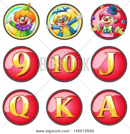 Jesters and letters on round badges illustration