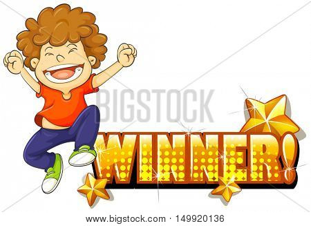 Boy jumping and winner sign illustration