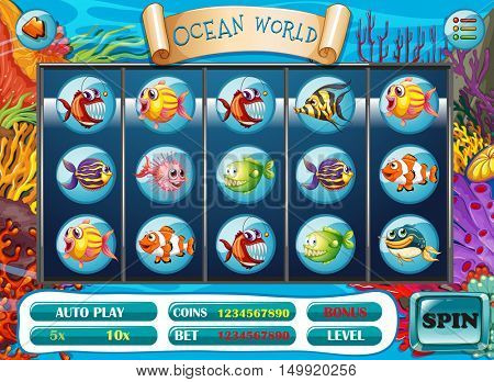 Slot game template with fish characters illustration