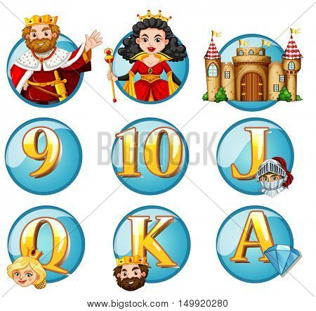 Fairytales characters and letters on round badges illustration
