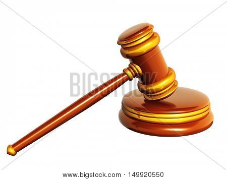 Symbol of justice - judicial gavel. Object isolated on white background. 3d render