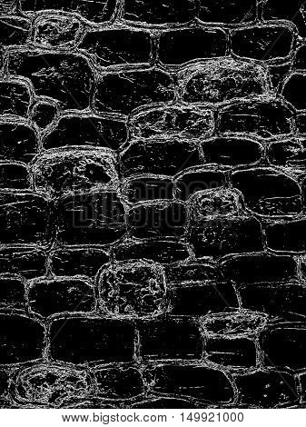 terrible wall, background pattern of stone walls, process imitation pen strokes white on black
